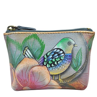 Anuschka Genuine Leather Coin Zip-Up Pouch Hand Painted Blissful Birds