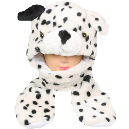 Silver Fever® Plush Soft Animal Beanie Hat w/ Built-In Mittens Paws Dalmation Dog