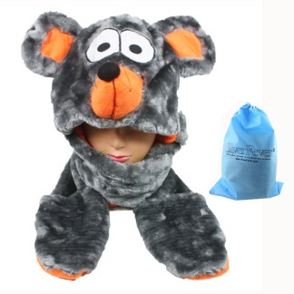 Silver Fever® Plush Soft Animal Beanie Hat w/ Built-In Mittens Paws Mouse