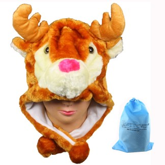 Silver Fever® Plush Soft Animal Beanie Ski Hat  Elk