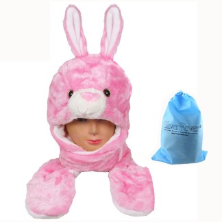 Silver Fever® Plush Soft Animal Beanie Hat with Built-in Earmuffs, Scarf, Gloves  Pink Bunny