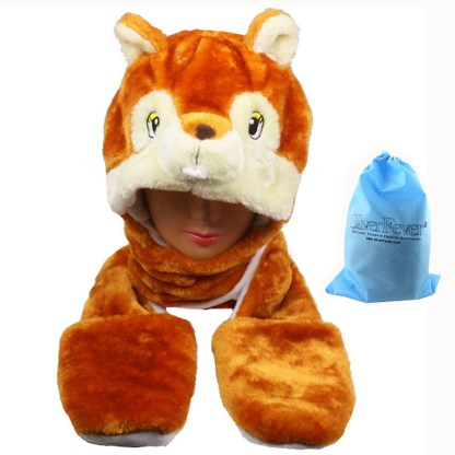 Silver Fever® Plush Soft Animal Beanie Hat with Built-in Earmuffs, Scarf, Gloves Squirrel