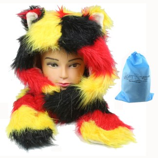 Silver Fever® Plush Soft Animal Beanie Hat with Built-in Earmuffs, Scarf, Gloves  Fluffy Red Yellow Bear