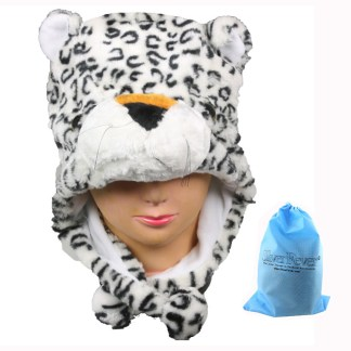 Silver Fever® Plush Soft Animal Beanie Ski Hat  White Leopard