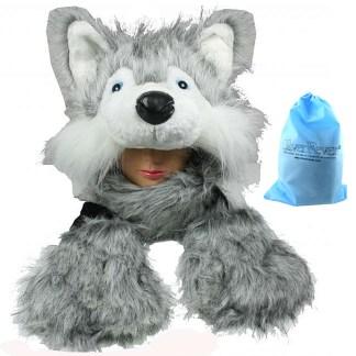 Silver Fever® Plush Soft Animal Beanie Hat with Built-in Earmuffs, Scarf, Gloves  Fluffy  Light Grey Huskey