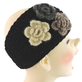 Silver Fever® Women Chunky Knitted Headband  Hair Band Head Wrap Earmuff Black with 3 Flowers