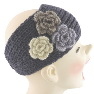 Silver Fever® Women Chunky Knitted Headband  Hair Band Head Wrap Earmuff Charcoal with 3 Flowers