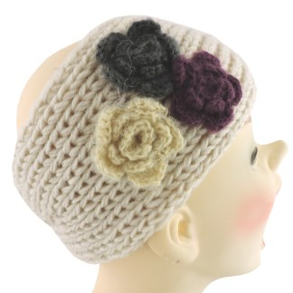 Silver Fever® Women Chunky Knitted Headband  Hair Band Head Wrap Earmuff White with 3 Flowers