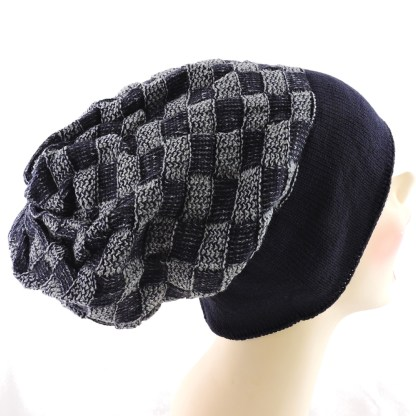 Silver Fever® Women Knitted Winter Hat Cup Ski Outdoor Sport Fashion Binnie Skullies Navy Gray Double Sided