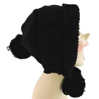 Silver Fever® Women Knitted Winter Hat Cup Ski Outdoor Sport Fashion Binnie Skullies Black w Pom Pom Ties