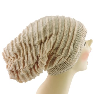 Silver Fever® Women Knitted Winter Hat Cup Ski Outdoor Sport Fashion Binnie Skullies Beige Reversible Ribbed