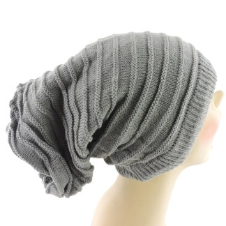 Silver Fever® Women Knitted Winter Hat Cup Ski Outdoor Sport Fashion Binnie Skullies Grey Reversible Ribbed