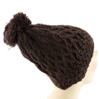 Silver Fever® Women Knitted Winter Hat Cup Ski Outdoor Sport Fashion Binnie Skullies Brown Honeycombed