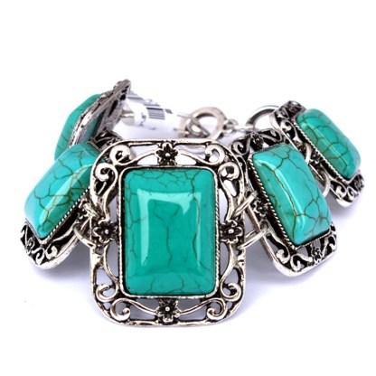 Silver Fever Fashion Bracelet with Gemstone Filigree Square Turquoise