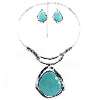 "Silver Fever Gemstone Necklace Earring Set Chocker 14""+2"" withTurquoise Penddant"