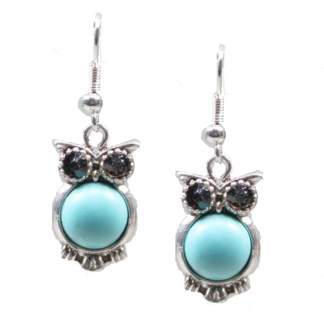 Silver Fever Fashion Drop Earrings with Cabashon Gemstone Turquoise Owl Black Eyes