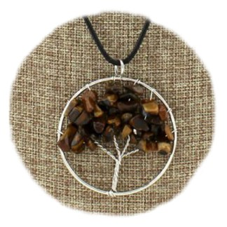 """Silver Fever Fashion Gemstone Necklace Pendant on Leather Cord Or Chain Tiger Eye Family Three 18"""""""