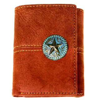 Genuine Leather Tooled Men's Wallet Brown/Patina Star 3 Fold