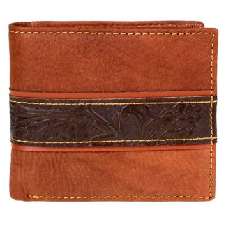 Genuine Leather Tooled Men's Wallet Brown Cntr 2 Fold