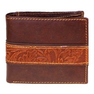 Genuine Leather Tooled Men's Wallet Coffee Cntr 2 Fold