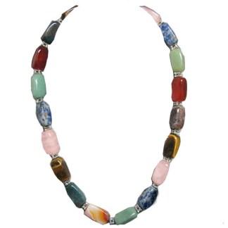 Silver Fever Inspirational Power Gemstones Stretchable Bracelet Multistone Rectengular Beads