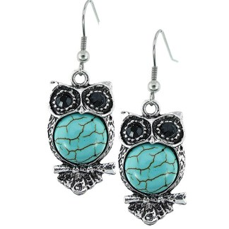 Silver Fever Fashion Drop Earrings with Cabashon Gemstone Turquoise Owl