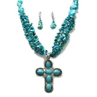 Silver Fever Gemstone Necklace Earring Set Turquoise Cross 18+2""