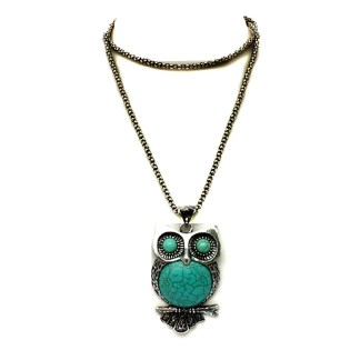 Silver Fever Fashion Gemstone Necklace Pendant on Chain Turquoise Owl 30""