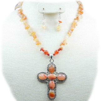 Silver Fever Gemstone Necklace Earring Set Carnelian Cross 18+2""