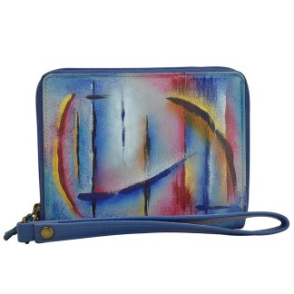 Anuschka RFID Wallet - Zip Around Organizer Wristlet - Hand Painted Leather  Northen Skies