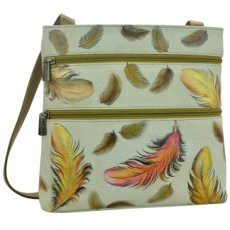 Anuschka Roomy Mini Sling Organizer Cross Body Traveler Hand Painted  Floating Feathers Ivory