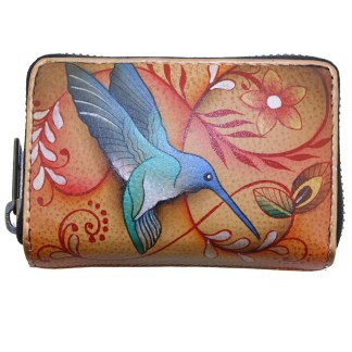 Anuschka Hand Painted Genuine Leather Credit Business Card Holder Flying Jewels Tan
