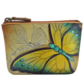 Anuschka Genuine Leather Coin Zip-Up Pouch Hand Painted Earth Song