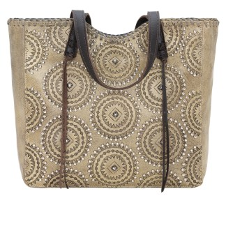American West Leather Tote- Multi Compartment Carry on Bag Kachina Spirit Charcoal Sand