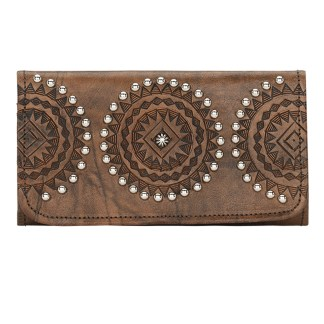 American West Leather Ladies' Tri-Fold French Wallet Kachina Spirit Brown