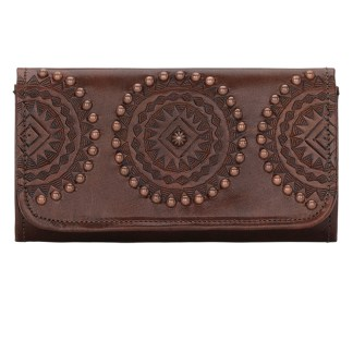 American West Leather Ladies' Tri-Fold French Wallet Kachina Spirit  Chestnut