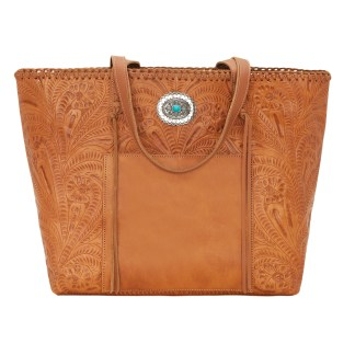 American West Leather Tote- Multi Compartment Carry on Bag Santa Barbara Golden Tan