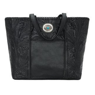 American West Leather Tote- Multi Compartment Carry on Bag Santa Barbara Black