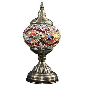 Silver Fever Handcrafted Mosaic Turkish Lamp -Moroccan Glass - Table Desk Bedside Light- Bronze Base-Multicolor Wave