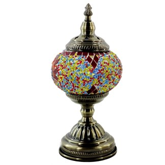 Silver Fever Handcrafted Mosaic Turkish Lamp -Moroccan Glass - Table Desk Bedside Light- Bronze Base-Bright Starburst