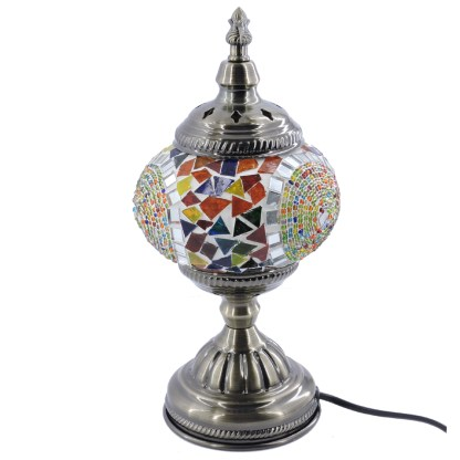 Silver Fever Handcrafted Mosaic Turkish Lamp -Moroccan Glass - Table Desk Bedside Light- Bronze Base-Circles