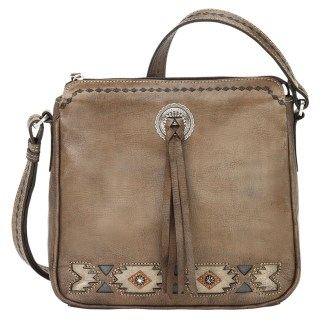 American West Leather Crossbody Bag Native Sun Cracoal Brown