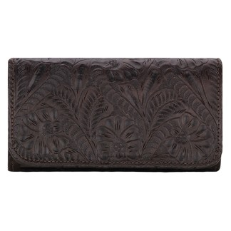 American West Leather Ladies' Tri-Fold French Wallet Annie's Secret Chocolate