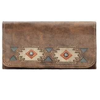 American West Leather Ladies' Tri-Fold French WalletNative Sun Charcoal Brown