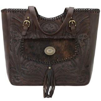 American West Leather Tote- Multi Compartment Carry on Bag Annie's Secret Consealed Carry Chestnutw Hair