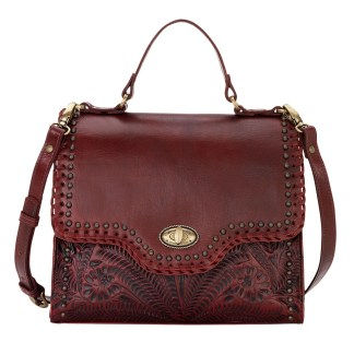 American West Leather Hidalgo Top Handle Classic Satchel Handbag Crimson
