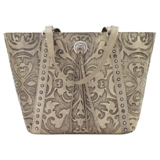 American West Leather Tote- Multi Compartment Carry on Bag Baroque Sand