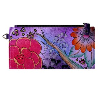 Anna by Anuschka Ladies Wallet  Lng Organizer Floral Butterfly Purple