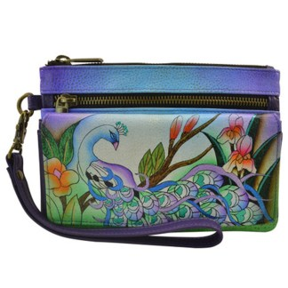 Anna by Anuschka Ladies Wallet  Wristlet Org Midnight Peacock