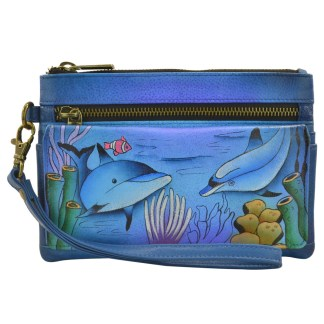 Anna by Anuschka Ladies Wallet  Wristlet Org Playfull Dolphin